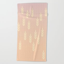 Wheat field in sunset Beach Towel