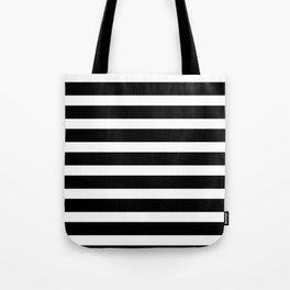 Wide Horizontal Stripe: Black and White Tote Bag