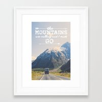 the mountains are calling Framed Art Prints featuring The Mountains are Calling by Alisha KP