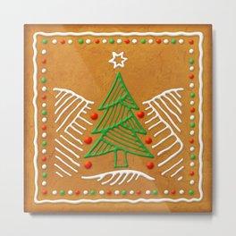 Gingerbread Christmas Tree Biscuit Metal Print