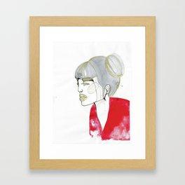 Iris - red sweater, grey hair Framed Art Print