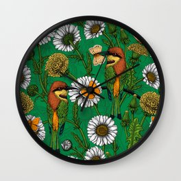 Bee eaters on a spring meadow    Wall Clock