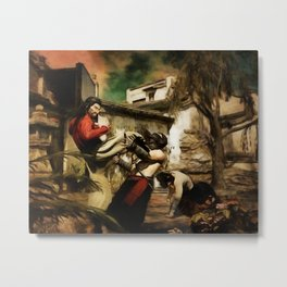 STREET FIGHT Retro Japanese Martial Arts Fight Scene Metal Print