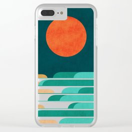 Chasing wave under the red moon Clear iPhone Case