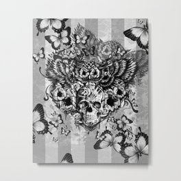 Lost and Found, floral owl with sugar skull Metal Print