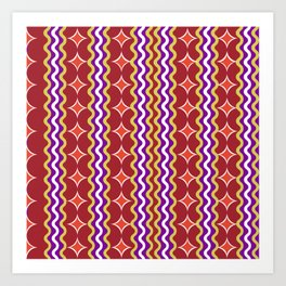 Retro 1960s Burgundy Gold Geometric Striped Pattern Art Print