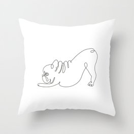 One line Frenchie Downward Dog Throw Pillow