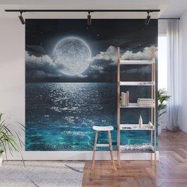 Full Moon over Ocean Wall Mural