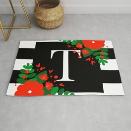 T - Monogram Black and White with Red Flowers Rug