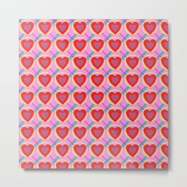 Connected hearts pattern Metal Print