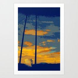 Sunrise Powerlines Art Print