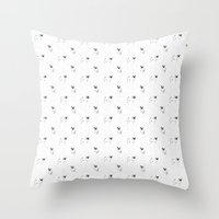pugs Throw Pillows featuring Pugs bw by Luiza Sequeira