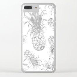 grayscale pineapple pattern, vintage tropical desing Clear iPhone Case