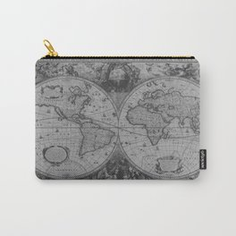 Antique Gray Map Carry-All Pouch
