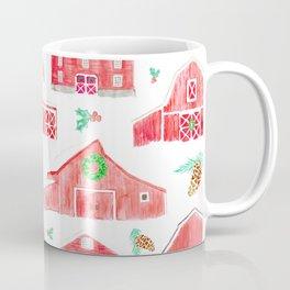 Watercolor Snowy Red Holiday Barns Coffee Mug