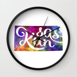 Kansas US State in watercolor text cut out Wall Clock