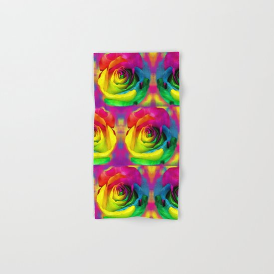 Rainbow Rose Colourful Background Hand & Bath Towel