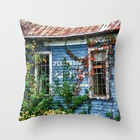 fleetwood mac Throw Pillows featuring Old Fleetwood Church by Anthony M. Davis