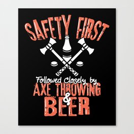 Axe Throwing & Beer T – Shirt Canvas Print