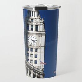 Chicago Clock Tower, American Flags Travel Mug
