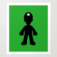 luigi Art Prints featuring Luigi  by Jessica Wray