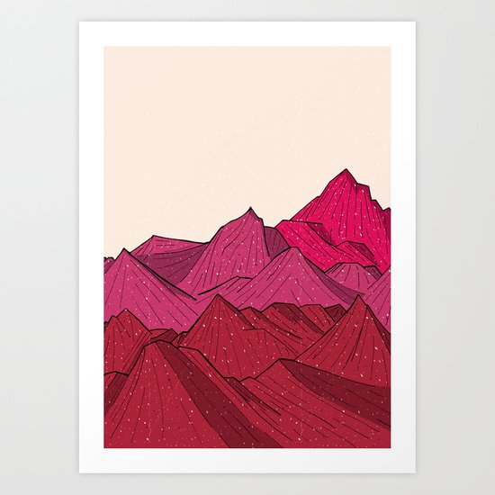 The falling snow and the mountains Art Print