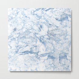 Modern stylish blue white trendy marble pattern Metal Print