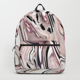 abstract girly pastel color marbled grey blush pink swirls Backpack