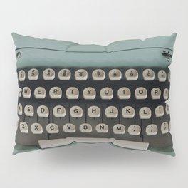 1957 Vintage Blue Typewriter Pillow Sham