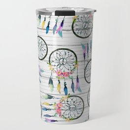Rustic white wood colorful boho dream catcher Travel Mug