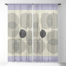 Abstract Floral - Mid Century Modern Geometric Minimalist Sheer Curtain