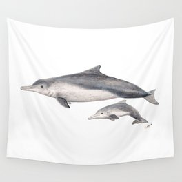 Australian humpback dolphin (Sousa sahulensis) with baby Wall Tapestry