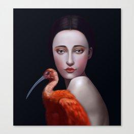 Miss Orange Stork Canvas Print