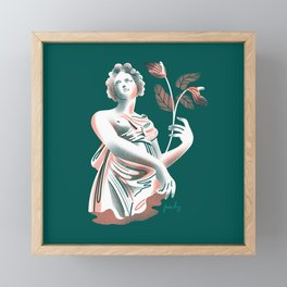 Woman with Anthurium Framed Mini Art Print
