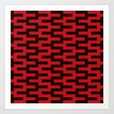 Black & Red Zigzag Art Print