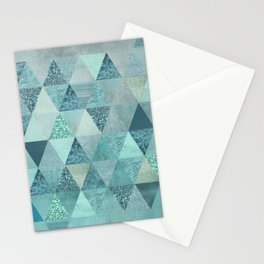 Glamorous Blue Glitter And Foil Triangles Stationery Cards