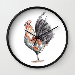 Watercolor Rooster / Rooster Drawing / Farm Art Wall Clock