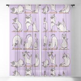 Siamese Cat Yoga Sheer Curtain