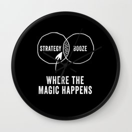 Strategy and booze where the magic happens Wall Clock