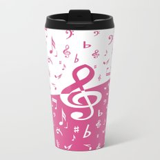 Cranberry Pink Music Notes with Wave Travel Mug