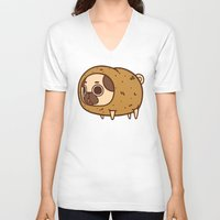 potato V-neck T-shirts featuring Puglie Potato by Puglie Pug