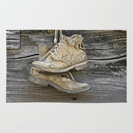Old Boots Hanging on a Nail Rug
