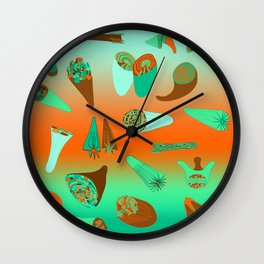 Rocket Cornucopia - Orange Brownie Wall Clock