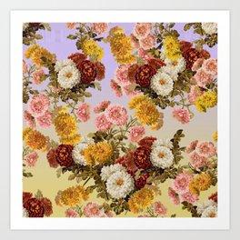 Chrysanthemum Floral Pattern on Lavender Purple Art Print