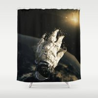 abyss Shower Curtains featuring floating in the abyss by Seamless