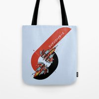 foo fighters Tote Bags featuring Raiden Fighters by Slippytee Clothing