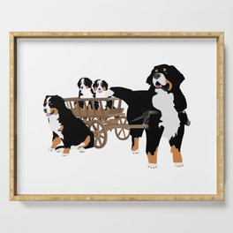 Family of Bernese Mountain Dogs with Wooden Wagon Serving Tray