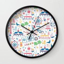 Newport Harbor Doodles Wall Clock