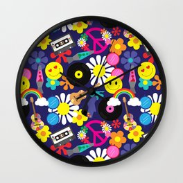 Groovy Retro Hippie Pattern Wall Clock