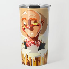 Happy bald man with beers Travel Mug